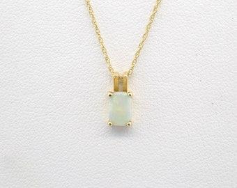 "14K Yellow Gold .50ct Emerald Cut Opal Pendant 16"" Necklace"