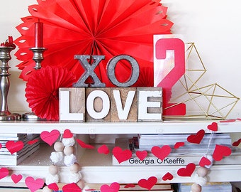 Lovely RED Valentine Heart Paper Garland and Trim - 9 ft SHIPS FOR 1.00! Easy Valentine's day decor  + Birthday + wedding. Ready to hang.