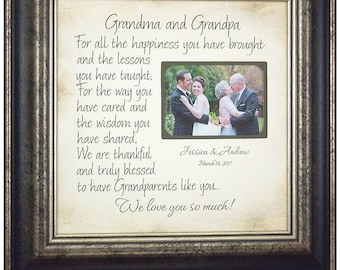 Gifts for Grandparents, Grandparents Wedding Thank You Gift, Grandmother Grandfather Gift, Personalized Wedding Frame Gift, 16x16