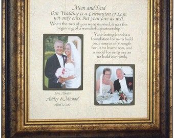 Parents Wedding Gift, Personalized Wedding Picture Frame  Bride Groom Gift Sign Mom Dad Father Mother, CELEBRATION OF LOVE 16 X 16