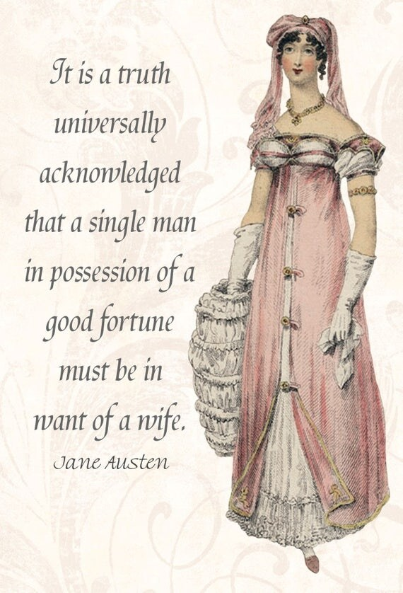 Jane Austen Quotes. It Is A Truth Universally Acknowledged... Pride and Prejudice. Jane Austen Card. Postcard. Darcy. Gift For Her.