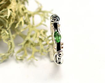 Tsavorite sterling silver ring stacking green stone  ring  band, 14k gold and silver ring ,stackable ring, green garnet jewelry gift for her