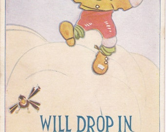 Will Drop In- 1900s Antique Postcard- Airplane- Edwardian Humor- Art Comic- All Sorts Series- Paper Ephemera- Unused