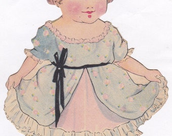 Paper Dolly- 1920s Antique Card- Die Cut Doll- Lithograph- Doll Art- Paper Ephemera