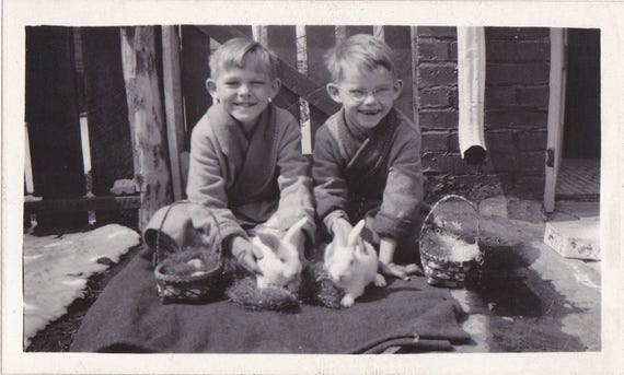 Real-Live Easter Bunnies- 1930s Vintage Photograph- Smiling Boys- Easter Baskets- White Rabbits- Vernacular- Found Photo- Paper Ephemera