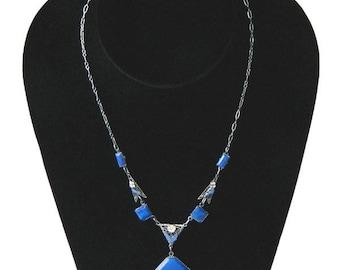 Vintage 1920s Art Deco Enameled Pendant Necklace