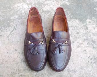 Vintage Mens 9d Allen Edmonds Siena Leather Loafers Slip On Oxfords Brogues Classic Wedding Suit Dress Shoes Preppy Hipster Summer Boat Mod