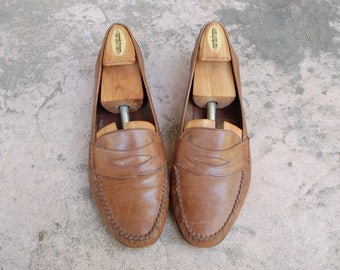 Vintage Mens 11.5n Cole Haan Italian Slip On Loafers Loafer Oxfords Dress Shoes Brown Leather Penny Loafers