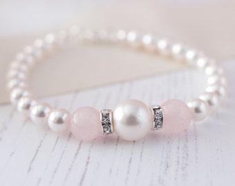 Rose Quartz Bracelet, Wedding Bracelet, Bridal Jewellery, Rose Quartz Accessories, Wedding Jewellery, Pearl and Rose Quartz Bracelet
