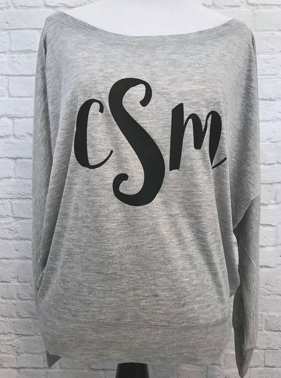 Monogram Flowy off the Shoulder Women's Long Sleeve T-shirt Heather Grey and Black