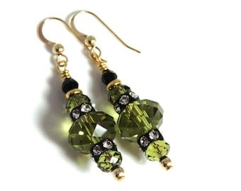Khaki Swarovski Crystal Earrings, Khaki Earrings, Khaki and Silver Earrings, Green Earrings, Black Earrings, Black Crystal Earrings