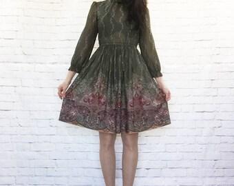 Vintage 70s Sheer Paisley Olive Vines Ruffled Collar Border Print Midi Dress S Clearance Item
