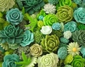 Resin Flower Cabochons : 10 Gorgeous Shades Of Green Blooming Baubles -- (Sizes from 7mm to 38mm)