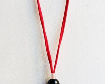Blown glass necklace, maxi necklace, fiber necklace, black blown bead necklace, lariat necklace