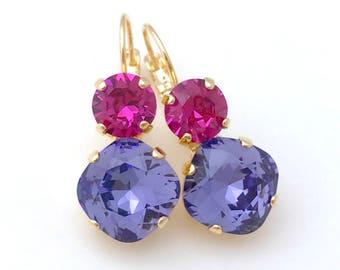 Purple Earrings // FUCHSIA & TANZANITE Earrings // Swarovski Crystal 12mm Cushion Earrings // Nickel Free Hypoallergenic Earrings