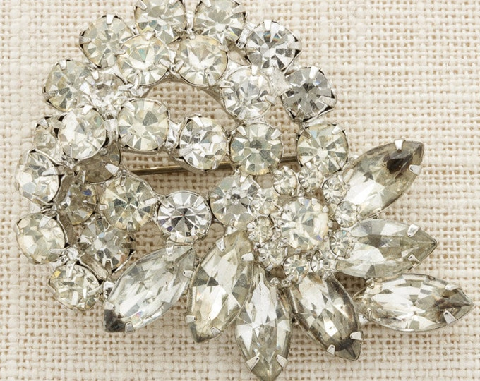 Silver Rhinestone Brooch Vintage Abstract Sparkly Broach Costume Jewelry | Vtg Pin 16C