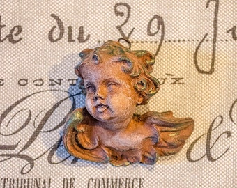 Vintage Wood Cherub Head, Carved Wood, from Italy