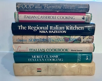 Italian Cookbooks,Vintage Italian Cuisine,1960-70's,Set of 7 with dust jackets,hardcover,kitchen decor, chef, Italian cooking, recipes,Italy