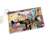 SALE Kittens in the Craft Room Flat Zipper Storage Pouch S219