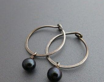 Sterling Silver Hoop Earrings with Freshwater Pearls Hammered Silver Hoops