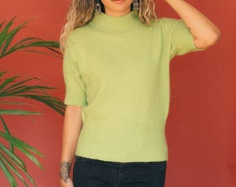 Lime Green Mohair Sweater / Angora Mohair Blend Turtleneck Sweater / Short Sleeve Sweater / Mock Neck Shirt Soft Fuzzy Jumper Pullover Neon
