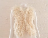 Cream Faux Fur Vest Small 90s Vintage White Fake Fur Boho Glam Rock Minimalist Cropped Club Kid Burningman Natural Mongolian Vegan Fur Vest