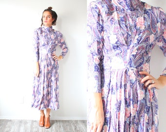 Vintage long sleeve purple floral dress // 80's modest dress // boho paisley long sleeve dress / fall bohemian floral modest dress high neck