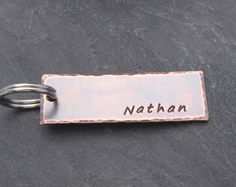 Mens OR Boys PERSONALIZED KEYCHAIN, Customizable, For Dad from Daughter, Birthday Gift Son, Graduation Gift for Son, Rustic Keychain for Dad