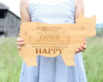 Cow Cutting Board Engraved Bamboo Cutting Board Farmhouse Kitchen