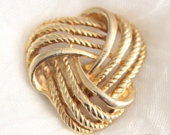 Vintage Gold Woven Knot Shoe Scarf Or Sweater Clip . Bluette France