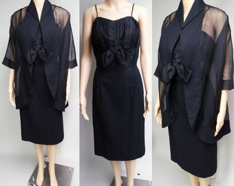 Vintage 1950s Dress | Lilli Diamond Dress | 1950s Black Dress | Matching Sheer Jacket | 1950s Wiggle Dress | 1950s Party Dress | 50s Dress