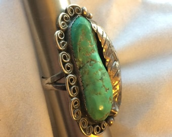 Signed Navajo Turquoise Ring with Leaf Marked STERLING AK Chunky Size 7.25