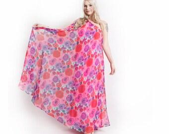 Vintage 60s Dress - Silk Chiffon Flowing Pink Silk Jersey One Shoulder Gown - Medium M