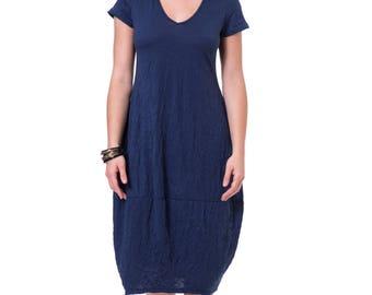 Loose fit blue dress Blue cotton dress Oversized casual blue dress Women summer dress