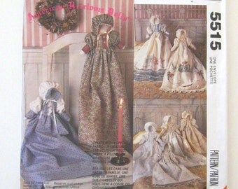 Heirloom Doll Pattern, McCalls 5515, 710, Easy Stuffed Doll Sewing Pattern, 13 inch tall, Faceless Doll, Doll Dress and Bonnet, UNCUT