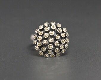 Sputnik Marcasite Ring Sterling Silver Size 5.25
