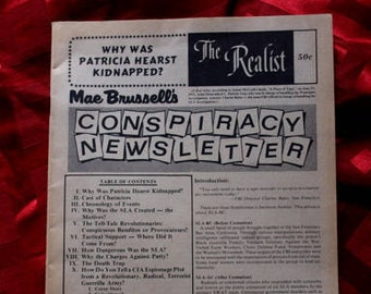 The Realist #98 Feb 1974 Why Was Patricia Hearst Kidnapped Mae Brussell's Conspiracy Newsletter Underground Alt Leaks Political SLA CIA FBI