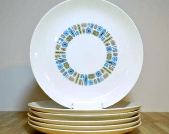 Mid Century Temporama Atomic Canonsburg Pottery 1950's Pattern Dinner Plates:  Set of Six Detergent and Oven Proof Duragloss Decoration PA