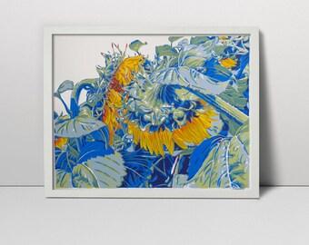 Sunflowers serigraph  - sunflower art - flower print  - flower painting - sunflowers screenprint  - flower art - floral art - sunflower arts