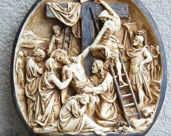 Vintage Religious Jesus Est De'Tache De La Croix Wall Plaque