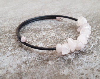 Rose Quartz Bracelet - Natural Rose Quartz Gemstone Chip Beads Cuff Bracelet - One Size Fits All