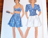 Simplicity 7663 Bra Top, Puff Sleeve Jacket, Flared Shorts Womens Misses Easy Vintage Sewing Pattern Size 8-20 Bust 31-40 Uncut Factory Fold