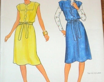 Vintage 1970s Sewing Pattern Butterick 4204 Jumper Dress Sundress with Yoke Cap Sleeves Belt Womens Miss Size 16 Bust 38 Uncut Factory Folds