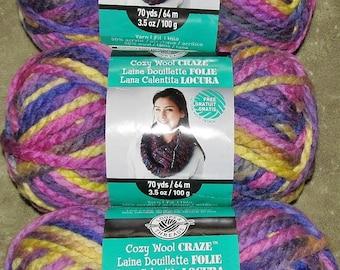 Loops & Threads Cozy Wool Craze Bulky Yarn Wool Acrylic Color 27009 Violet Green Lot WL154957 50% Wool Acrylic 70 Yd 3 Balls Available EUC