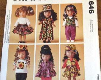 "Vintage Craft Sewing Pattern McCall's 646 7395 13"" Doll, Clothes Kenya Growing Up Proud, Dress, Hat, Top, Skirt, Pants, Uncut Factory Folds"