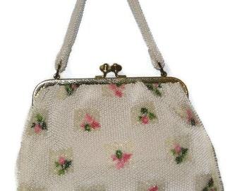 60s Beaded Purse White Beaded Purse Floral Purse Floral Beaded Purse Beaded Pocketbook 1960s Beaded Bag Beaded Handbag Lemured Bead Purse