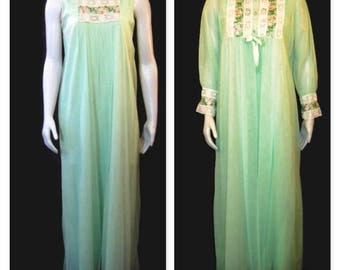 60s Peignoir Set Light Green Chiffon Robe  Nightgown Vintage 60s Lingerie Boudoir Gown 60s Sleepwear Set Green Chiffon Peignoir Long Nightie