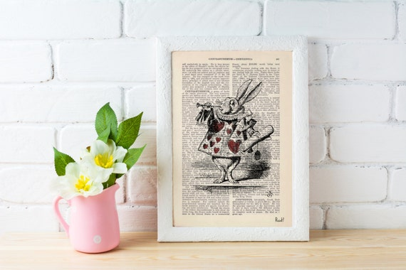 Summer Sale Alice in Wonderland White Rabbit Print on Vintage Dictionary Book ALW015