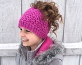 Crochet Pattern for Kaycee Ponytail or Messy Bun Beanie Hat DIY Tutorial - Sizes toddler to large adult - Welcome to sell finished items