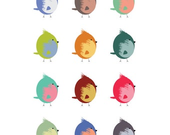 Happy Birds 8 x 10 Print